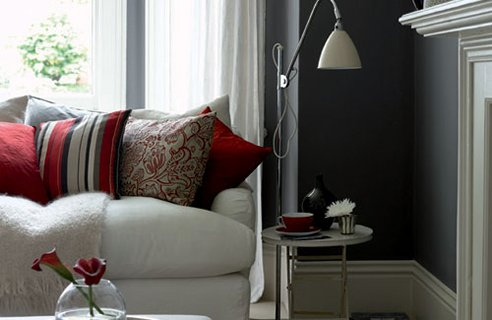 Grey rooms design sensibility - Red paint living room ideas ...