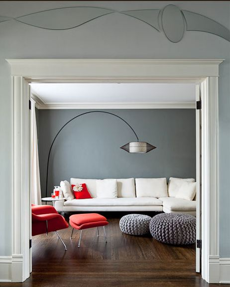 Grey Walls With Red Accents: Design Sensibility